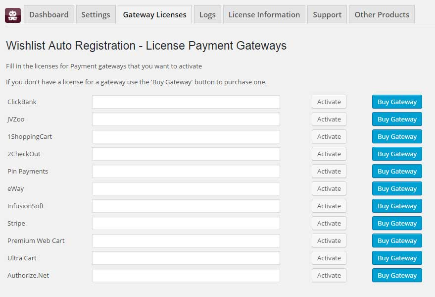 Wishlist Auto Registration Add-Ons Activation