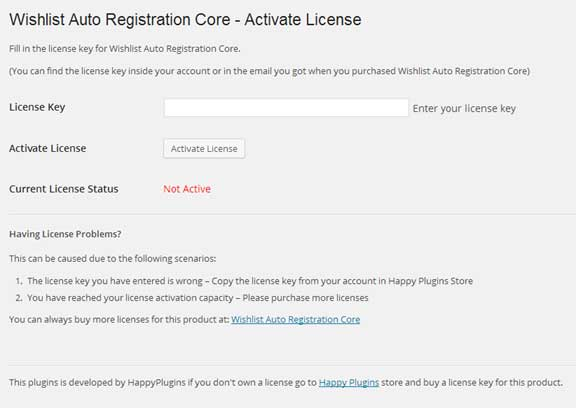 Wishlist Auto Registration License Activation