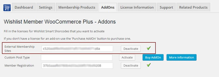 External Membership Sites License Activation