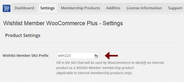 "Step #3: Paste the SKU Prefix to ""Wishlist Member WooCommerce Plus"" Plugin"