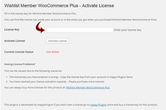Wishlist Member WooCommerce Plus License Activation
