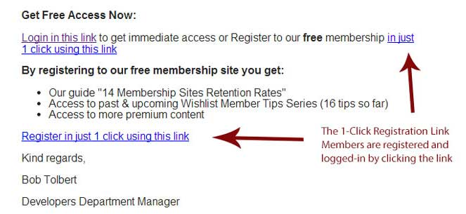 The registration link inside an email