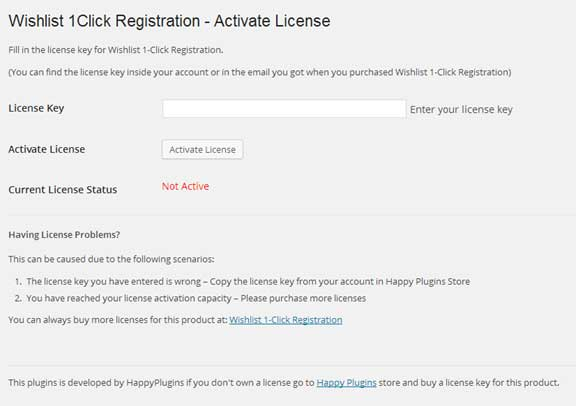 Wishlist 1-Click Registration License Activation