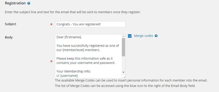 Membership Details Wishlist Member Settings