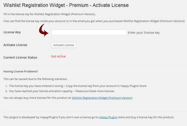 Wishlist Registration Widget License Activation