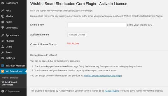 Wishlist Smart Shortcodes License Activation
