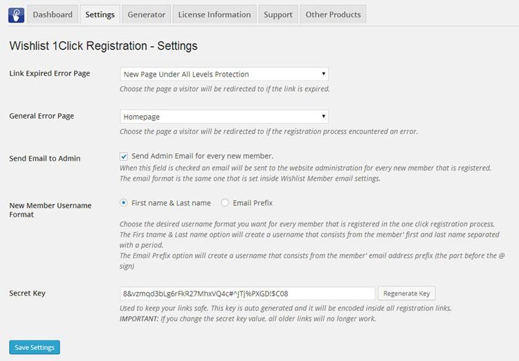 Wishlist 1-Click Registration Settings