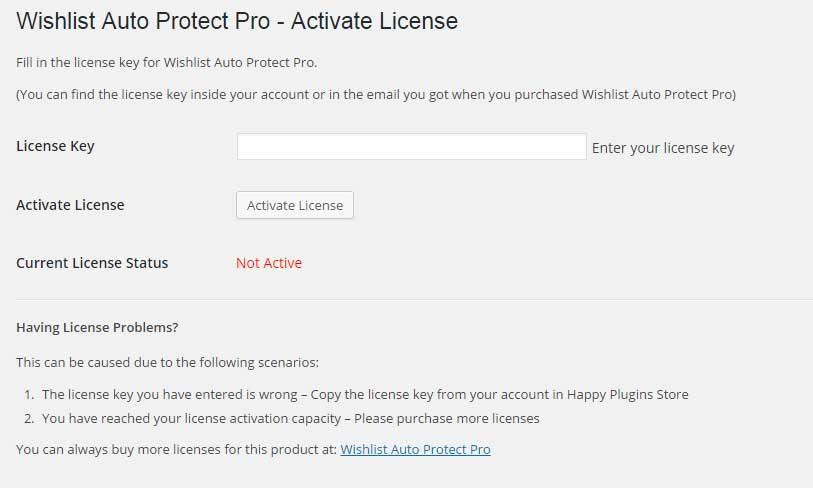 Wishlist Auto Protect Pro License Activation