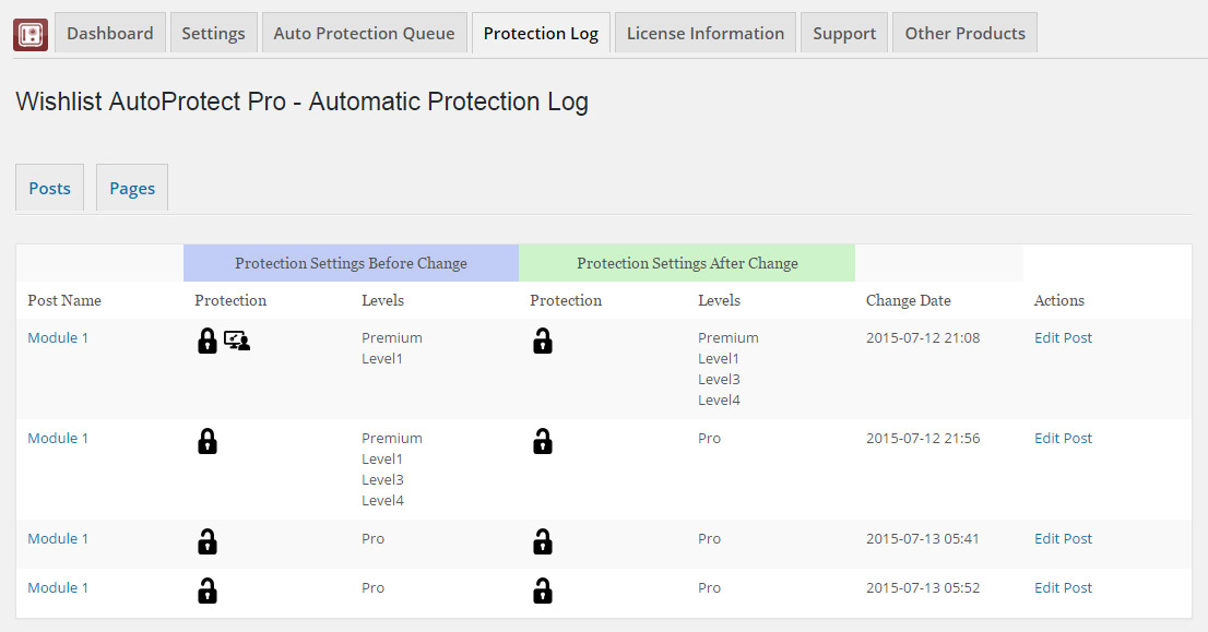 Wishlist AutoProtect Pro - Automatic Protection Log Table