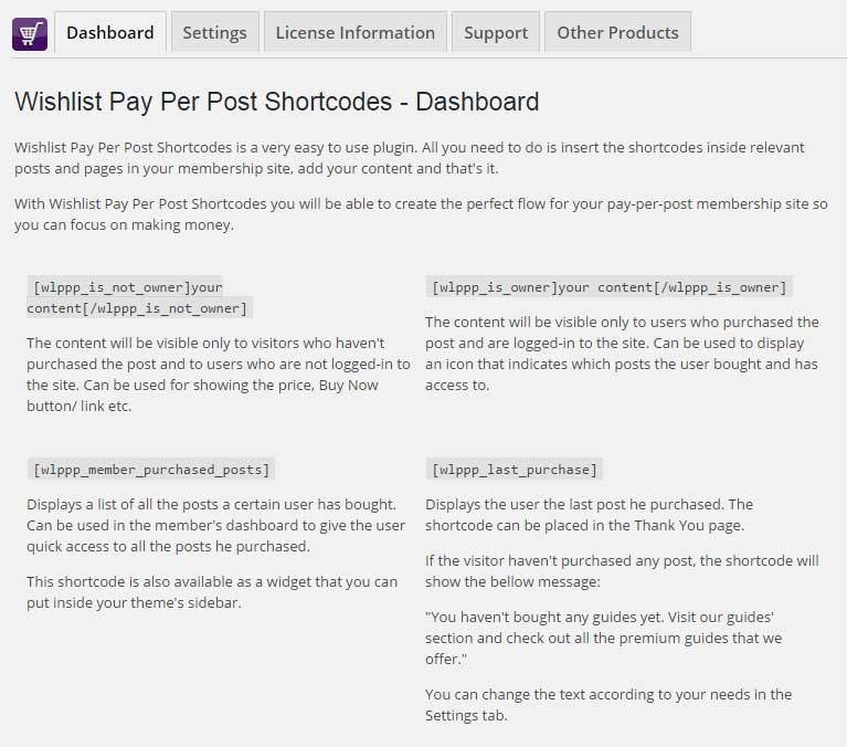 Wishlist Pay Per Post Shortcodes - Dashboard