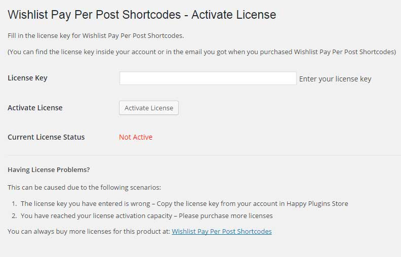 Wishlist Pay Per Post Shortcodes License Activation