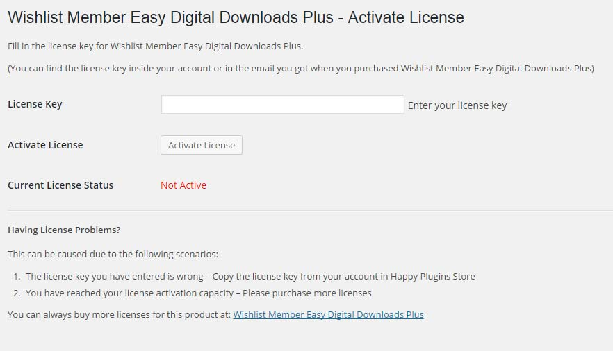 Wishlist Member Easy Digital Downloads Plus License Activation