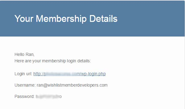 New Member Login Details Email