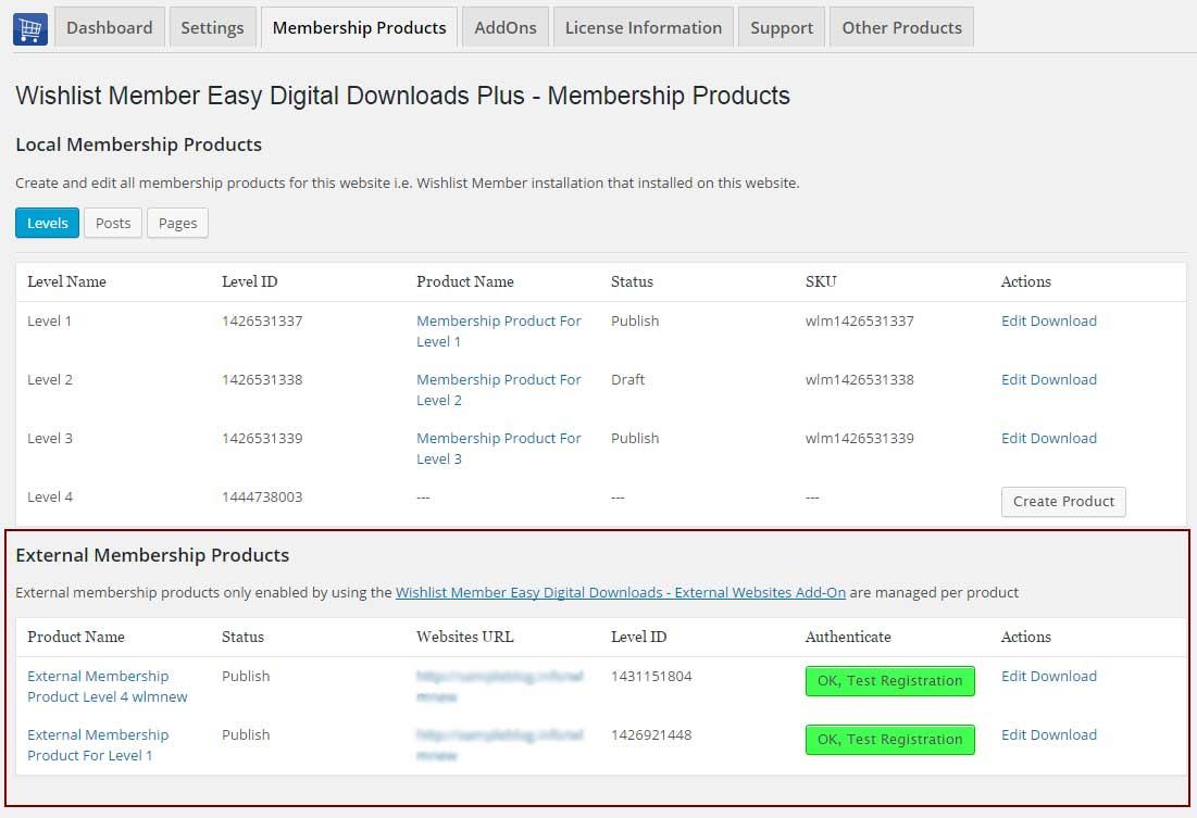 Wishlist Member Easy Digital Downloads External Membership Products