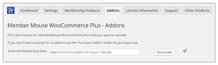 External Membership Sites Add-On License Activation