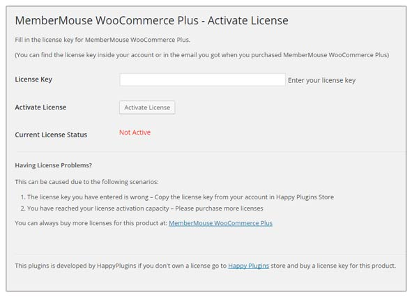 MemberMouse WooCommerce Plus License Activation